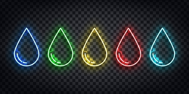 Set of realistic  neon sign of water, poison, oil and blood droplet logo for template decoration on the transparent background. Premium Vector