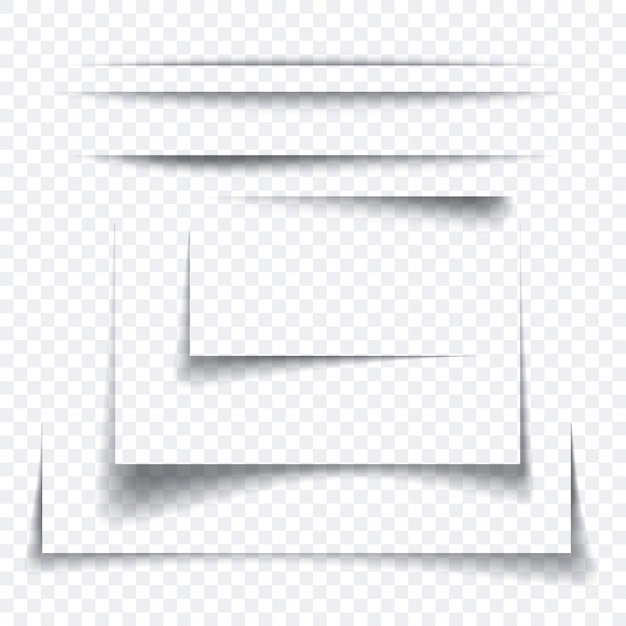 Set of realistic paper sheet shadow effect, transparant graphic element Premium Vector