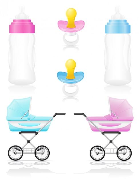 Set of realistic perambulator bottle pacifier pink and blue vector illustration Premium Vector