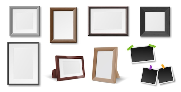 Set of realistic photo frames isolated Premium Vector