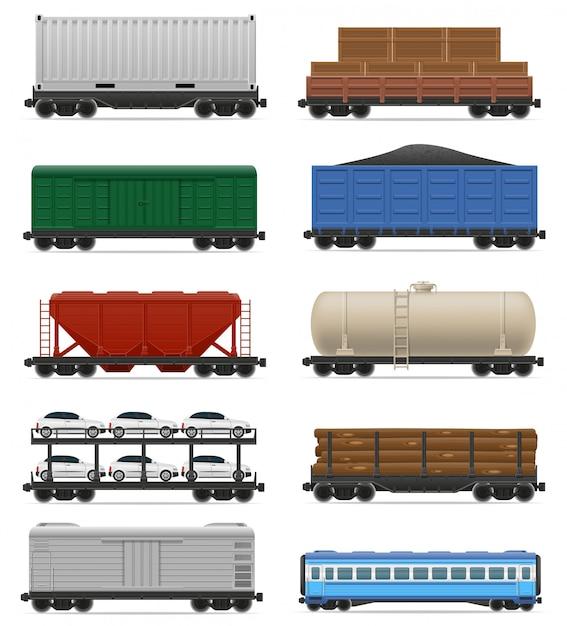 Set of realistic railway carriage train vector illustration Premium Vector