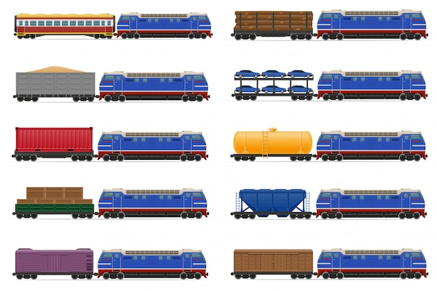 Set of realistic railway train with locomotive and wagons vector illustration Premium Vector