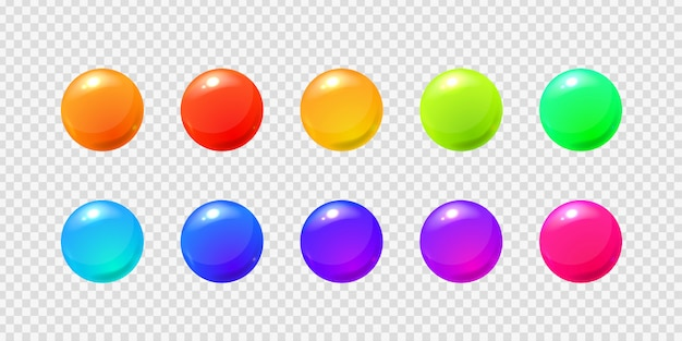 Set of realistic  sphere balls on the transparent background for decoration and covering. Premium Vector