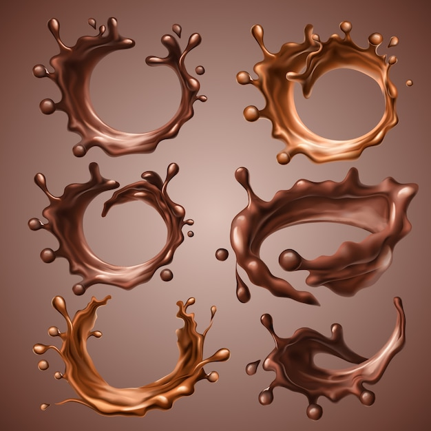 Set of realistic splashes and drops of melted dark and milk chocolate. dynamic circle splashes of whirl liquid chocolate, hot coffee, cocoa. design elements for packaging. 3d illustration. Premium Vector
