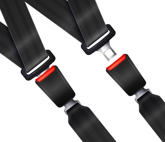 Set of realistic transportation seat belts with textured black strap illustration Free Vector