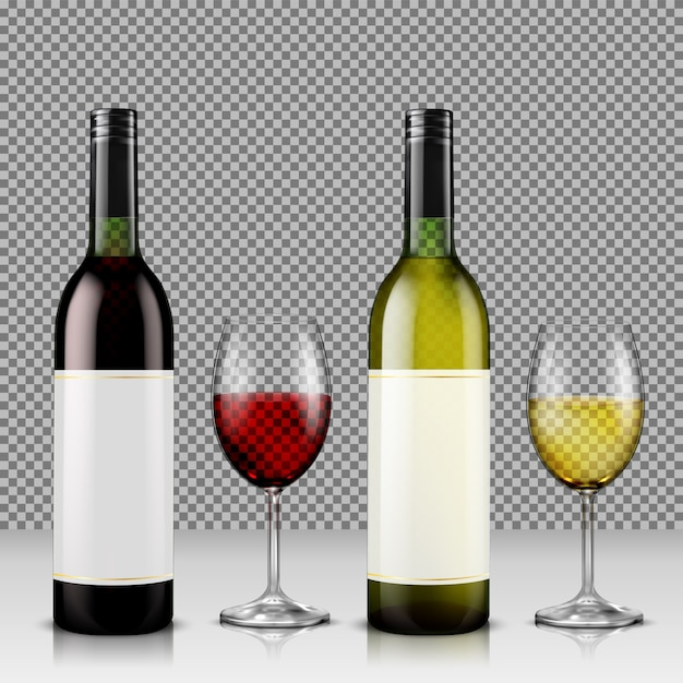 Set of realistic vector illustration of glass wine bottles and glasses with white and red wine Free Vector