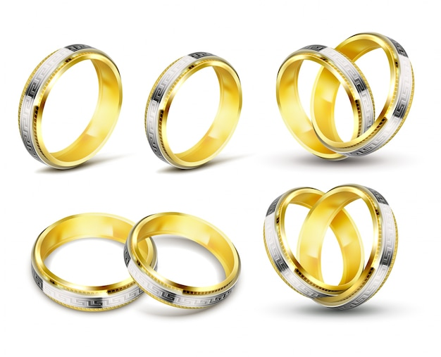 Set of realistic vector illustrations of gold wedding rings with engraving Free Vector