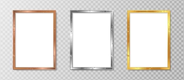 Set realistic vertical photo frame with luxury design Premium Vector