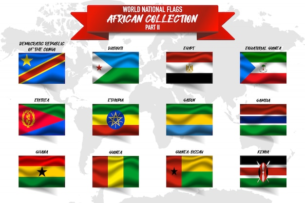 Set of realistic waving national flag of african countries on world map .  egypt,gabon, ghana, guinea and other Premium Vector