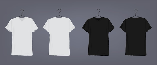 Set of realistic white and black unisex classic t-shirt with round neckline on coat hanger. front and back view. Premium Vector