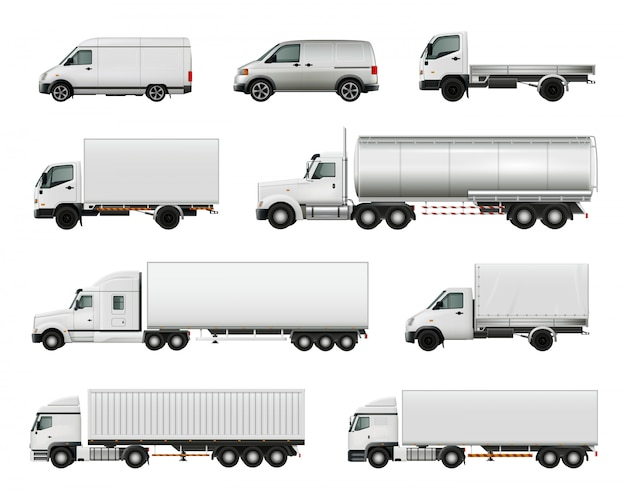 Set of realistic white cargo vehicles Free Vector