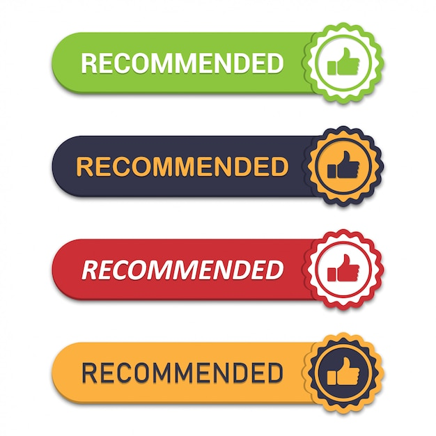 Set of recommend emblem with thumb up in a flat design with shadow Premium Vector