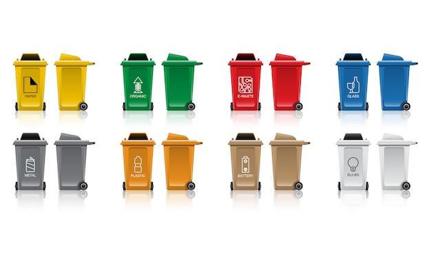 Set of recycle bin Premium Vector