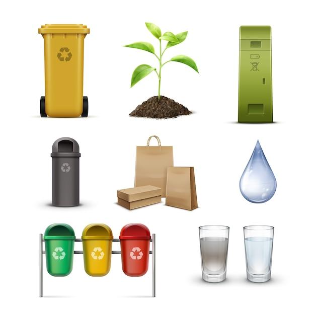 Set di cestini per la raccolta differenziata, goccia di acqua pulita, germogli e sacchetti di carta kraft isolati su priorità bassa bianca Vettore gratuito