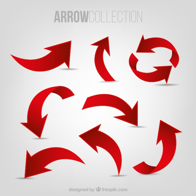 Set of red arrows Free Vector