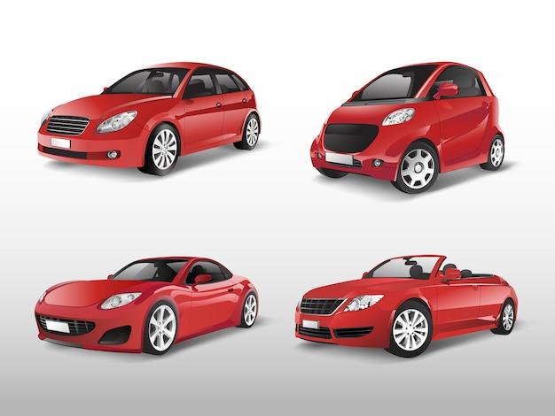 Set of red car vectors Free Vector