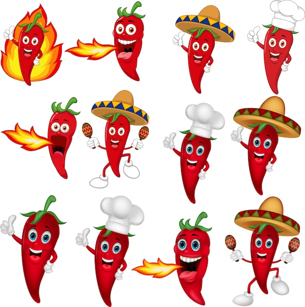 Set of red chili peppers cartoon Premium Vector