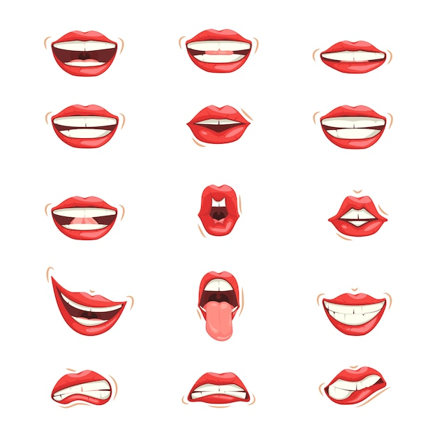 Set of red female lips with different emotional expressions. Premium Vector