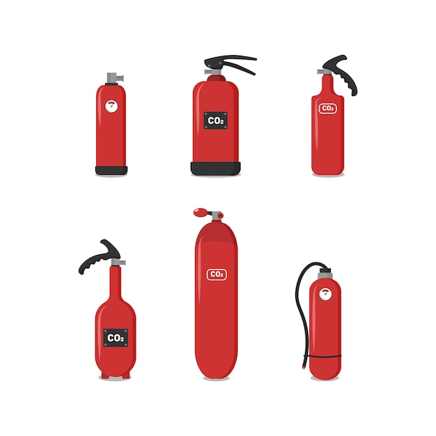 Set of red fire extinguishers, icons - safety symbol - protection equipment - emergency sign. fire extinguisher of various types to ensure the safety of the building, which would protect people. Premium Vector
