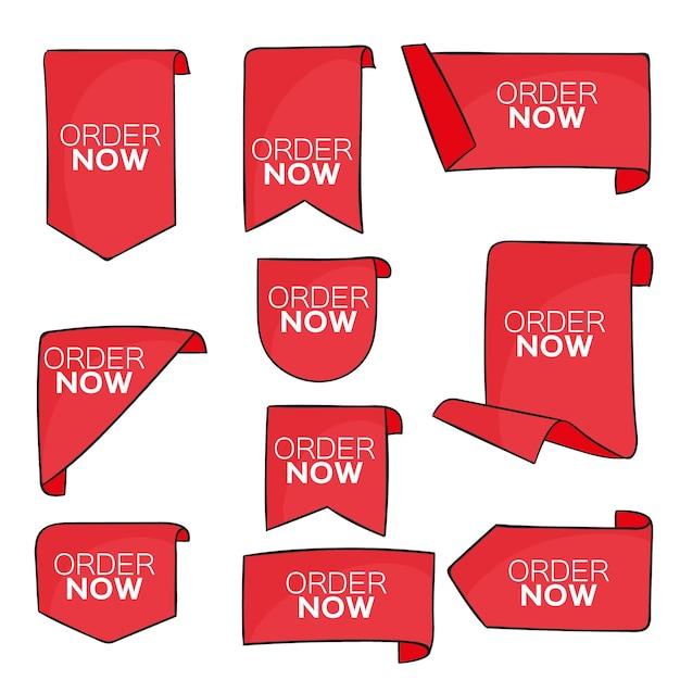 Set di etichette di ordine rosso ora Vettore gratuito