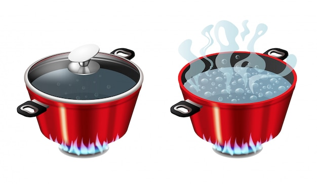 Set of red pans with boiling water, opened and closed pan lid Premium Vector