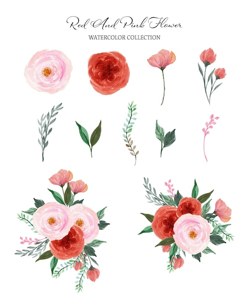 Set of red pink individual and bouquet watercolor flowers Premium Vector