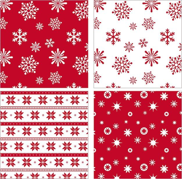 Set of red seamless snowflake pattern Premium Vector