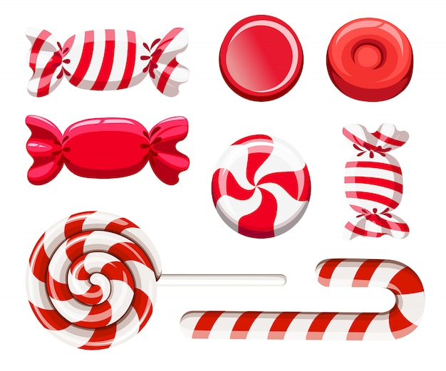 Set of red sweetmeats. hard candy, candy cane, lollipop. candys in wrapper.  illustration  on white background. web site page and mobile app Premium Vector