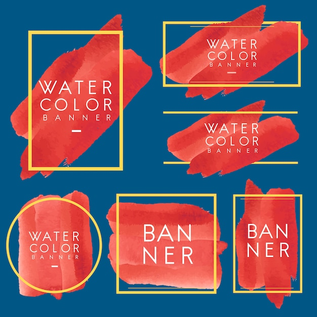 Set of red watercolor banner design vector Free Vector