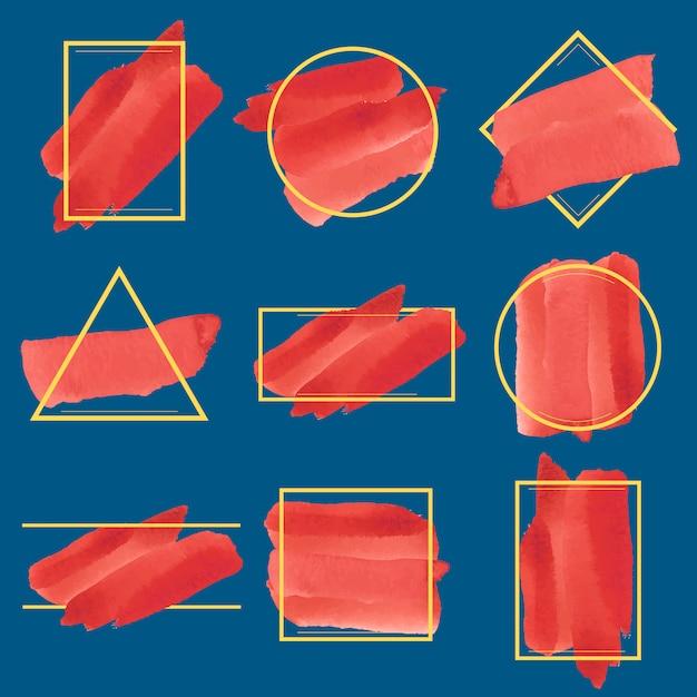 Set of red watercolor banner design vector Free Vector
