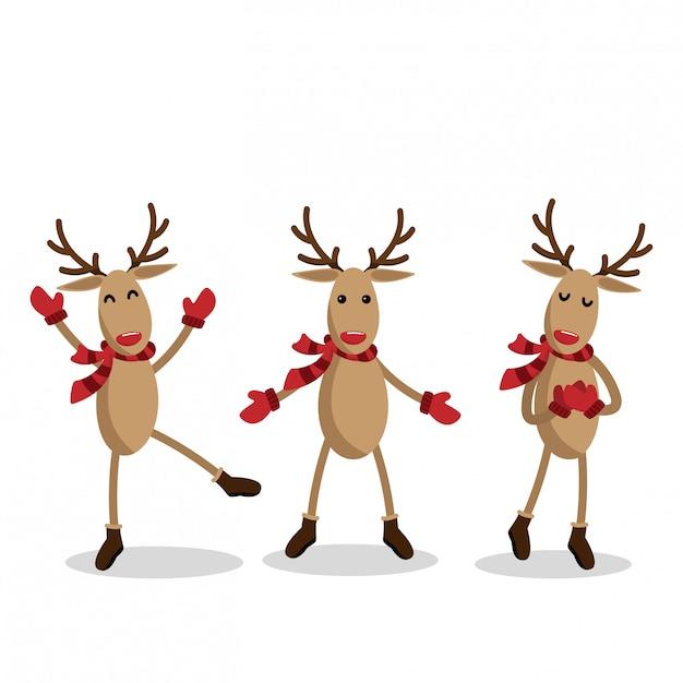 Set of reindeer for christmas holiday season. Premium Vector
