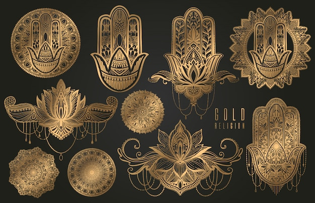 Set religion buddhism boho sign gold.hamsa,mandala,lotus. Premium Vector