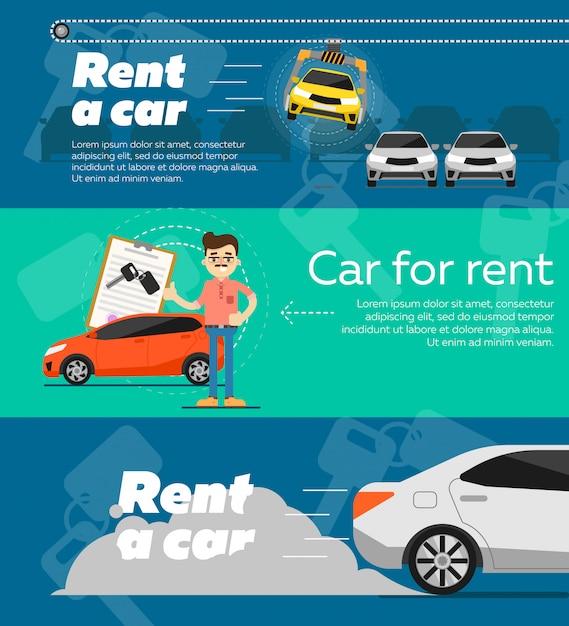 Set Of Rent A Car Banner Template Premium Vector