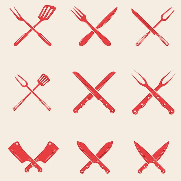 Set of restaurant knives icons. crossed fork, kitchen spatula, butcher's ax.  elements for logo, label, emblem, sign, poster, t shirt.  illustration Premium Vector