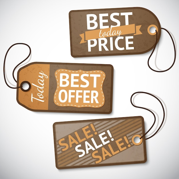 Set of retail cardboard sale tags Free Vector