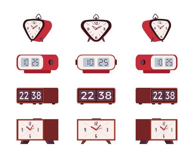 Set of retro alarm clocks Premium Vector