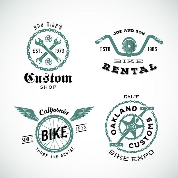 Set of   retro bicycle custom labels or logos Premium Vector