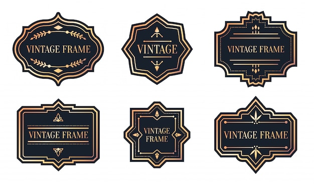 Set of retro black labels with rose gold frame vintage. different shape for sticker of package. Premium Vector