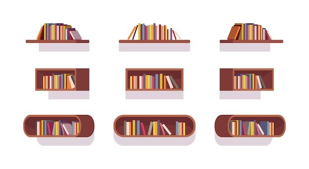 Set of retro bookshelves Premium Vector