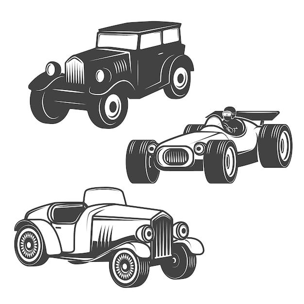 Set of retro cars icons  on white background.   elements Premium Vector
