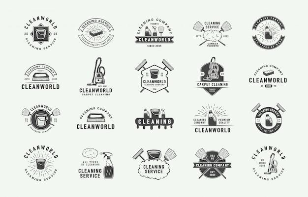 Set of retro cleaning logo badges Premium Vector