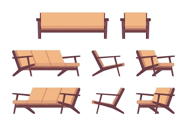 Set of retro cream sofa and armchair Premium Vector
