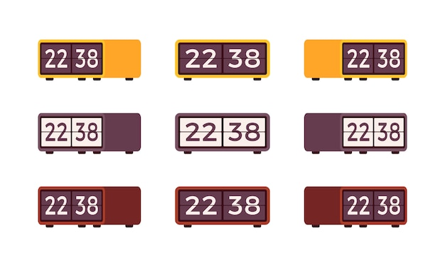 Set of retro flip alarm clocks Premium Vector