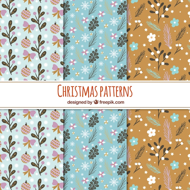 Set of retro floral christmas patterns Free Vector