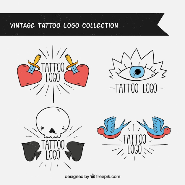 Set of retro hand drawn logos Free Vector