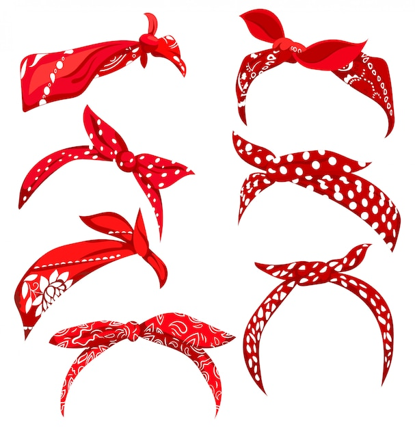Set retro headband for woman. collection of red bandanas for hairstyles. Premium Vector