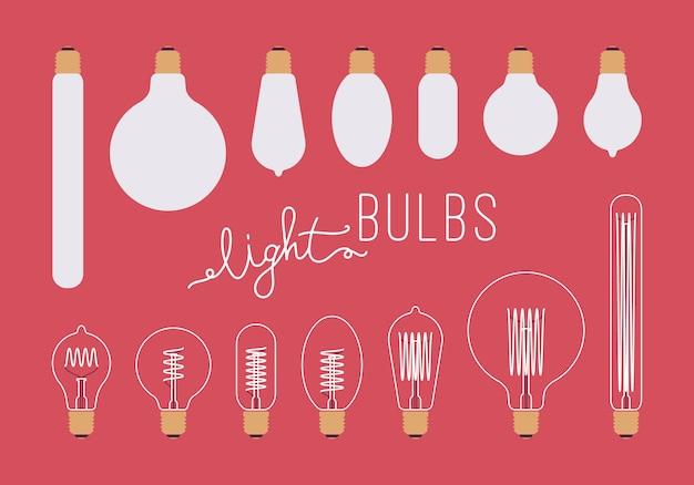 Set of retro light bulbs aganst crimson background Premium Vector