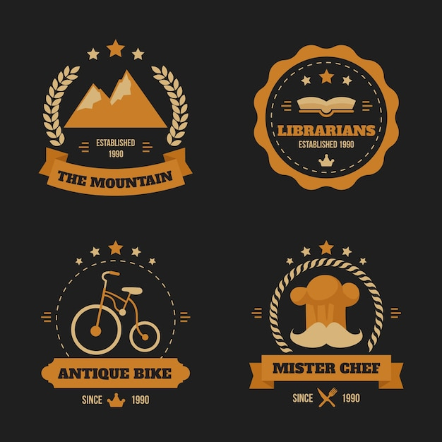 Set of retro logo collection concept Free Vector