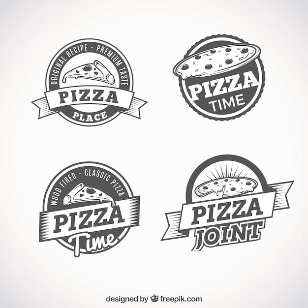 Set of retro logos of pizzas Premium Vector