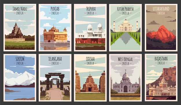 Set of  retro posters. states of india illustration. Premium Vector